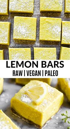 Dairy free paleo lemon barsare a refreshing dessert that only take 10 minutes to make! With hints of banana and a few secret ingredients you cant go wrong with these delicious raw paleo and vegan treats! Desserts Rafraîchissants, Desserts Sains, Raw Vegan Desserts, Raw Vegan Recipes, Lemon Desserts, Vegan Treats, Paleo Dessert, Vegan Foods, Paleo Vegan