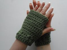 Kylie Wristlets in Forest Green - Fingerless Gloves Hand Wrist Warmers Gauntlets Mittens - Ready to Ship - FREE US Shipping by LilacsLovables, $15.00