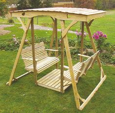 For Those Of You Who Wanted The Double Glider In Wood. This One Is Pretty. Patio  SwingGarden ...