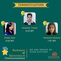 Silver Oak Group of Institute feels proud to announce the toppers of semester-2 from EC
