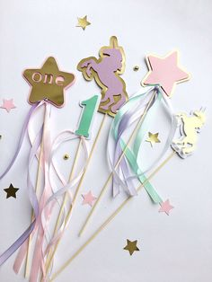 Excited to share the latest addition to my #etsy shop: Unicorn Centerpieces Sticks Baby Girl First Birthday Party Rainbow Birthday Centerpieces Gold Unicorn Baby Shower Table Decoration