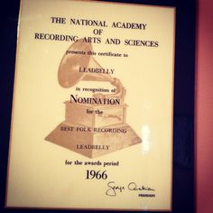 Lead Belly Grammy nomination plaque for 1966 Rock N Roll Music, Rock And Roll, Lead Belly, 12 String Guitar, Record Art, National Academy, Grammy Nominations, King, Inspiration