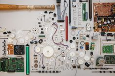 """It's easy to build up a """"junk box"""" of items you can use to build projects seen in MAKE — or just about anything you can imagine. Many of my articles for MAKE take advantage of found components, often picked out of trash bins. Just because an electronic d Hobby Electronics, Cool Electronics, Electronics Projects, Electrical Projects, Electronic Parts, Electronic Recycling, Electronic Devices, Diy Tech, Computer Repair"""