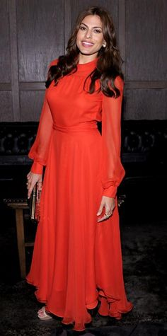 Look of the Day › April 28, 2011 WHAT SHE WORE At the after-party for Last Night, Mendes sizzled in a chiffon Gucci gown, nude Jimmy Choo sandals and a Roger Vivier pailette clutch.