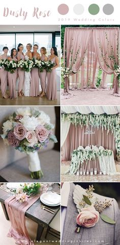 romantic dusty rose, ivory and grey wedding color ideas for 2019 . romantic dusty rose, ivory and grey wedding color ideas for 2019 Gray Wedding Colors, Dusty Rose Wedding, Wedding Color Schemes, Blush And Grey Wedding, Dusty Rose Bridesmaid Dresses, Grey Wedding Theme, Beach Wedding Colour Scheme, Purple Wedding, Wedding Colour Palettes