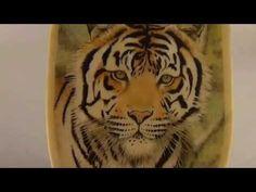 Tiger Scrimshaw on free-form ivory