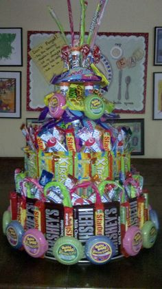 Candy Cake....I love this idea for a kid's birthday. No one ever finishes off the cake that costs a fortune so who eats it....Mom & Dad. Kids would love this!!!