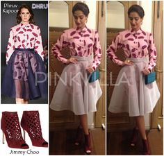 Sonam Kapoor in Dhruv Kapoor with wing earrings from Micare and a blue Elie Saab sling bag. Promotion Dresses, Maxi Outfits, Sonam Kapoor, Deepika Padukone, Indian Celebrities, Bollywood Celebrities, Full Circle Skirts, Bollywood Fashion, Bollywood Style
