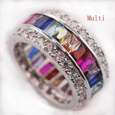 Multi Gemstone Ring   925 Sterling Silver   AtPerrys Healing Crystals   1 Silver Bracelets, Silver Rings, Wedding Band, Wedding Rings, Pretty Rings, Gold Engagement Rings, Halo Engagement, Making Ideas, Sterling Silver Jewelry