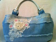 Shabby Chic Purse    Shabby Chic creation!!! White handles with bling...frayed edges, pink floral embellishes, huge white lace bouquet topped with rosette....snap closure and very spacious inside. Pockets of course.