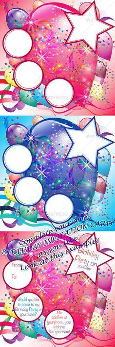 Birthday Balloons Cards for Invitation