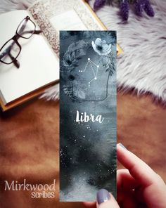 Libra Zodiac Bookmark, Night Sky Bookmark with Libra Constellation, Gift for Libra Creative Bookmarks, Bookmarks For Books, Diy Bookmarks, Watercolor Bookmarks, Watercolor Art, Libra Constellation, Bamboo Art, Libra Zodiac, Drawing Projects