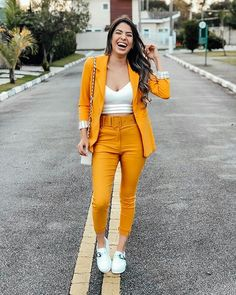 Orange Outfit Ideas Gallery how to wear outfits with a orange blazer chicisimo Orange Outfit Ideas. Here is Orange Outfit Ideas Gallery for you. Orange Outfit Ideas how to . Suit Fashion, Look Fashion, Fashion Outfits, Womens Fashion, Girl Fashion, Cute Casual Outfits, Stylish Outfits, Dress Casual, Mode Outfits