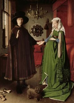 """The Arnolfini Wedding"" by Jan Van Eyck  c. 1435 15th century  A green velvet houppelande lined in fur. Sleeves are elaborately treated in the form of smocking."