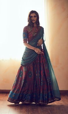In the West designer Vera Wang's label is synonymous with bridal couture, but in India when we talk about a wedding dress Ritu Kumar is the name that surely cr Indian Lehenga, Half Saree Lehenga, Lehnga Dress, Indian Gowns, Indian Attire, Pakistani Dresses, Indian Wear, Lehenga Designs, Half Saree Designs