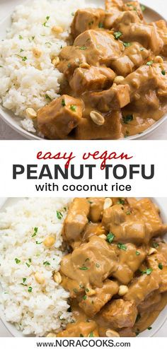 You'll love this quick and easy vegan Peanut Tofu with Coconut Rice. Crispy bake… You'll love this quick and easy vegan Peanut Tofu with Coconut Rice. Crispy baked tofu is tossed in vegan peanut… Healthy Recipes, Diet Recipes, Vegetarian Recipes, Cooking Recipes, Smoothie Recipes, Healthy Nutrition, Easy Tofu Recipes, Rice Recipes Vegan, Vegetarian Appetizers