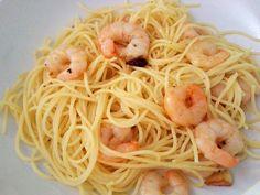 Menta&Azafrán: Espaguetis con gambas al ajillo
