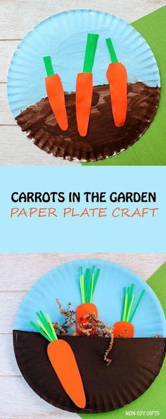 Carrots in the garden craft for kids. Easy paper plate spring or Easter craft for toddlers and preschoolers. | at Non-Toy Gifts #gardeningcrafts