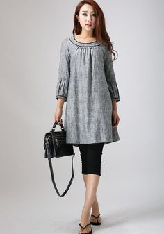 Grey Linen Tunic dress - feminine Mini Dress with round collar and flare botton (783)