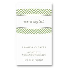 BUSINESS CARD minimal chevron stripe panel green...  modern, smart and sophisticated with a fresh, clean look