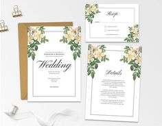 Floral Wedding Invitation Template  Printable Modern Floral