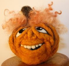 Wool Needle Felted Pumpkin With Nice Smile and Blonde Locks by DiAnnCreations on…