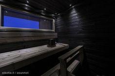 A dramatic sauna in Finland. Saunas, Interior Decorating, Interior Design, Finland, Blinds, Architecture Design, Curtains, Bathroom, Home Decor