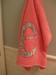 Personalized Towels - could do this for the girls bathroom?