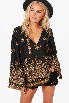 Esme Boutique Embellished Woven Top - $36