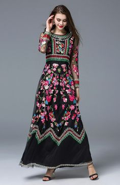 Cheap maxi dress, Buy Quality long maxi dress directly from China dress quality Suppliers: 2017 Super Quality Europe and U. Retro Long Sleeve O-neck Collar Vintage Gauze Embroidery Slim Waist Dress Long Maxi Dress Cute Floral Dresses, Sexy Dresses, Vintage Dresses, Party Dresses, Estilo Hippy, Vintage Mode, Vintage Style, Vintage Party, Maxi Robes