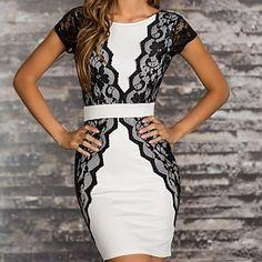 Women's Lace Stitching sleeveless Party Dress