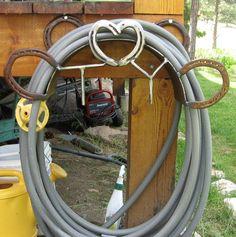 horseshoe garden hose holder