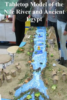 A Tabletop Model of the Nile River and Ancient Egypt A great way to integrate EL… Ancient Egypt Lessons, Ancient Egypt Activities, Ancient Egypt Crafts, Ancient Egypt For Kids, Egyptian Crafts, Egyptian Art, Ancient History, European History, Ancient Aliens