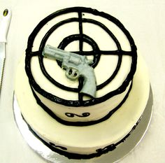 Grooms Cake with a target and gun