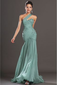 MermaidTrumpet Chiffon One Shoulder Empire Floor-Length Sleeveless Prom Dress | Cheap prom dresses Sale