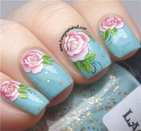 1sheet Sun Flower Rose Nail Water Decals Transfer Stickers BPS002