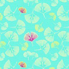 Ginkgo Dreaming (in Aqua) fabric by nouveau_bohemian on Spoonflower - custom fabric