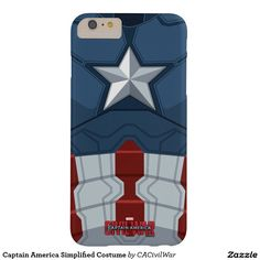 Captain America Simplified Costume Barely There iPhone 6 Plus Case. Regalos, Gifts. #carcasas #cases