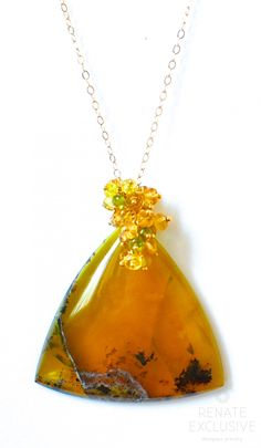"African Yellow Green Opal Necklace ""Safari Style"" - Handmade Jewelry - Renate…"