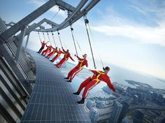 CN Tower EdgeWalk...may have to try this!! Gotta be VERY brave to conquer this! 100x's worse then the scariest roller coaster of all time (wherever it is!)