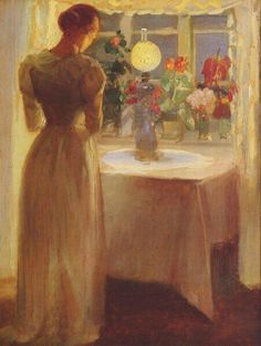 Young Girl Before a Lit Lamp - Anna Ancher 1887