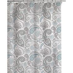 Daliah Paisley Shower Curtain Paisley Shower Curtain, Paisley Curtains, Gray Shower Curtains, Paisley Fabric, Grey And White Curtains, Grey Curtains, Retro Bathrooms, Laundry In Bathroom, Tubs