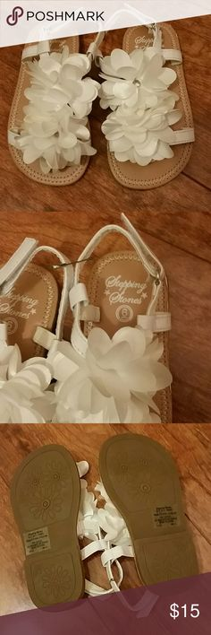 White Flower Shoes Perfect for Flower Girl Velcro These Shoes are Adorable little white silk flower sandals that would be perfect for a wedding, Spring Photos, Easter or Any Dress-up Occasion. Stepping Stones Shoes Dress Shoes
