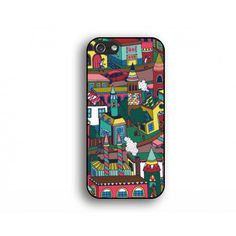 the street scenery painting iphone 5s case,house IPhone 5s case,painting IPhone 5 case,IPhone 4 4s case,cartoon style iphone  cover