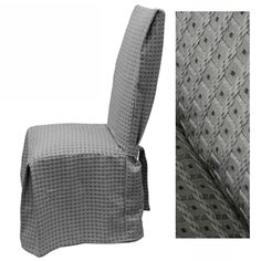 Basket Grey dining chair cover offers rich sophistication in a timeless classic design. This silk-like sheen dining chair cover is visually stunning with half inch embroidered squares on a pale misty rose background.