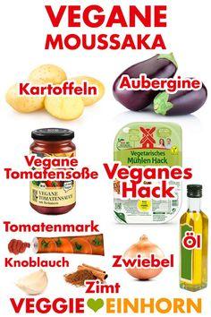 Veganer Auflauf mit Aubergine, Kartoffeln und veganem Hackfleisch. Vegetarische Moussaka ohne Fleisch. Ohne Käse. Lecker überbacken mit veganem Hefeschmelz. #VeggieEinhorn #veganerezepte #vegankochen Veggie Recipes, Vegetarian Recipes, Healthy Recipes, Moussaka Vegan, Vegan Challenge, Plant Based Nutrition, Vegan Life, Food Porn, Food And Drink
