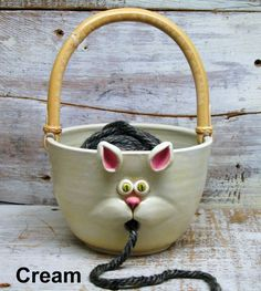 Yarn bowl - Yarn Holder Knitting Bowl - Large Knitting Bowl with Cute Cat Mouth - Hand Made Pottery by Heidi