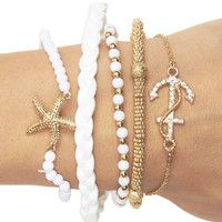 Gold and white stackable braclets