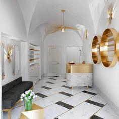 19 Luxury Marble Floor Design Luxury Marble Floor Design - Gold accents Black white Grand entry with white marble floor lobby Abu Dhabi luxury interior interiors interiordesign des. Foyer Flooring, Granite Flooring, Luxury Flooring, Unique Flooring, Floor Design, Tile Design, Marble Design Floor, Design Room, Marble Floor