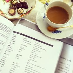 Studying Japanese is always made more pleasant with treats  #studying #weekend #Japanese #learnjapanese #coffee #coffeebreak #treats #funtimes #chillax #weekendvibes